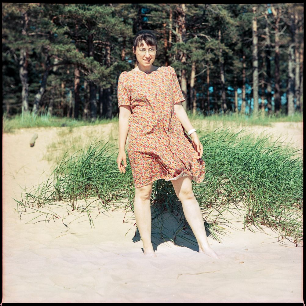 Photo of my wife on beach.