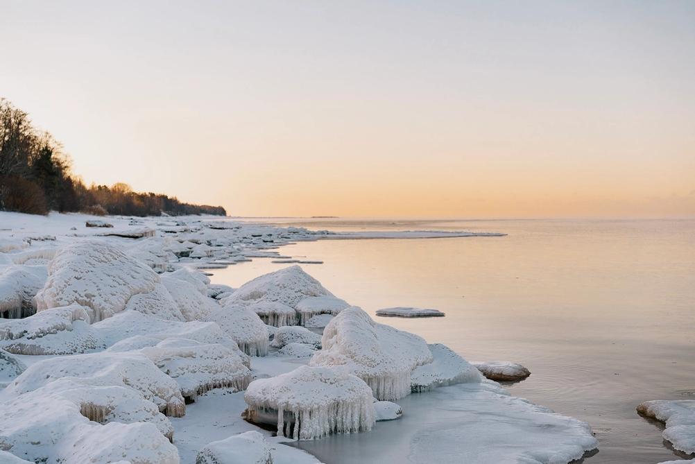 Photo of ice on the beach.