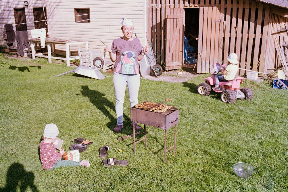 Photo of my family grilling.