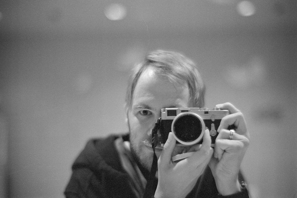 Black and white photo of me taking a picture of myself.