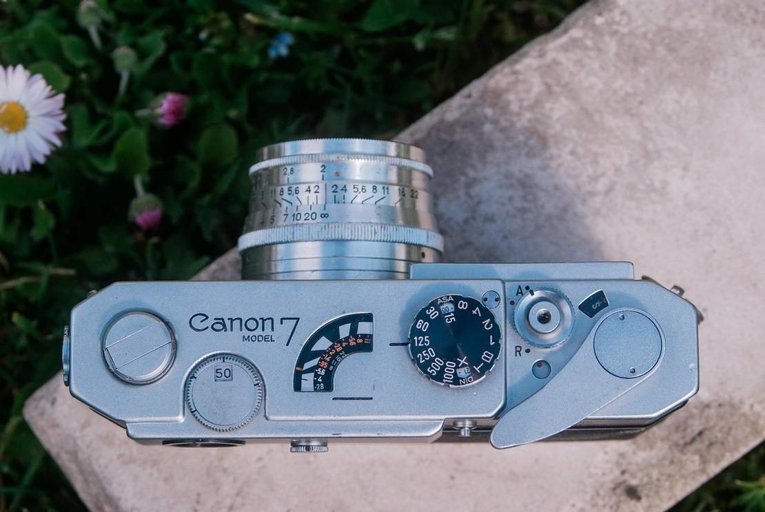 Canon Model 7 camera from the top.