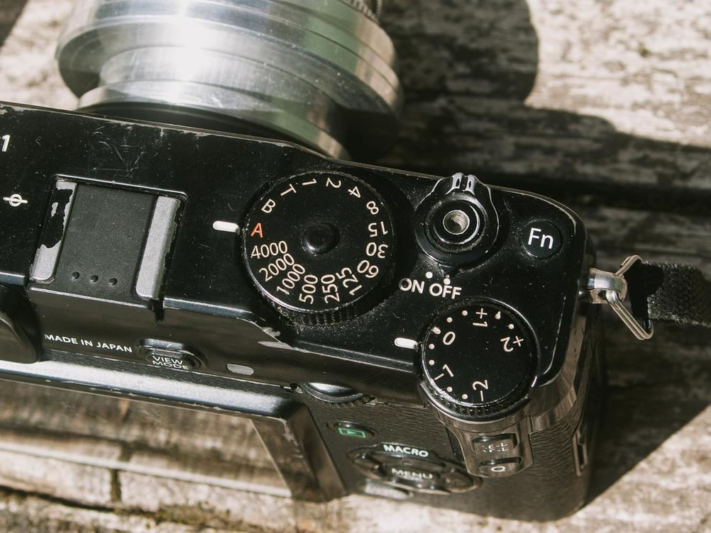 Photo of Fujifilm X-Pro1 physical dials.
