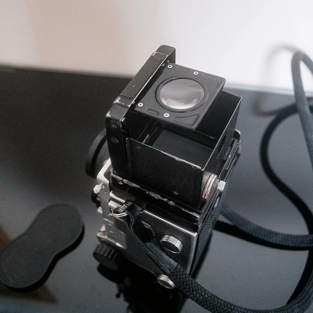Mamiya C220 with waist level viewfinder.