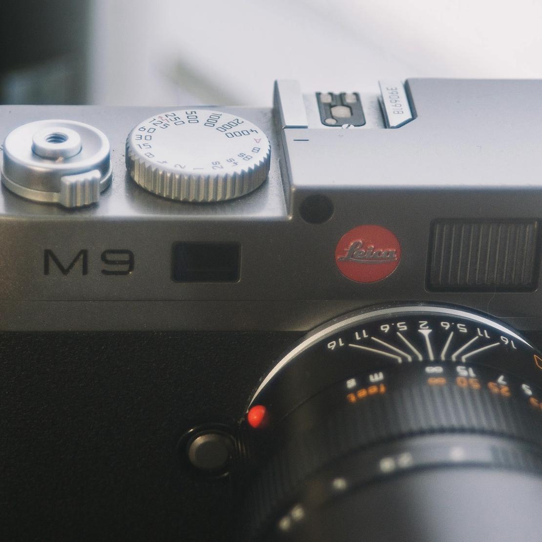 Closeup photo of Leica M9.