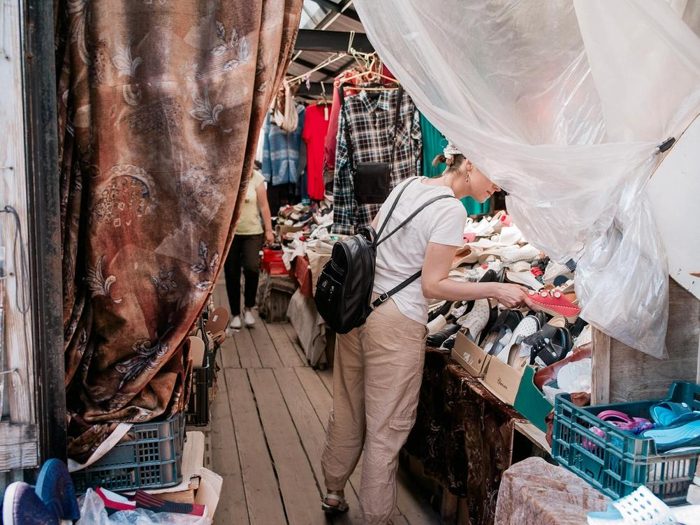 Photo of a weird market selling clothes.