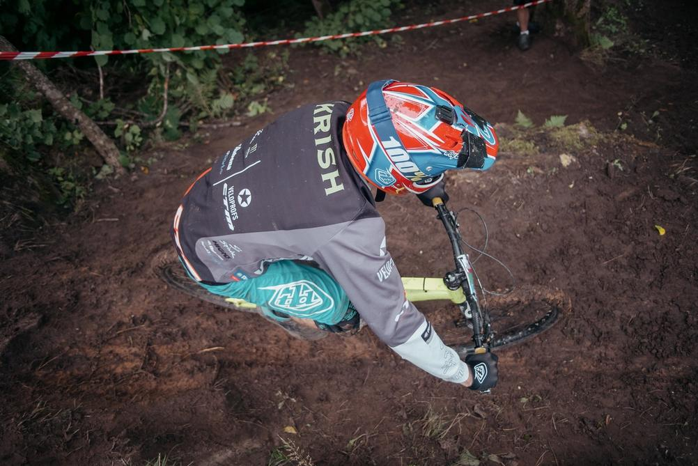Top down view of a downhill racer.