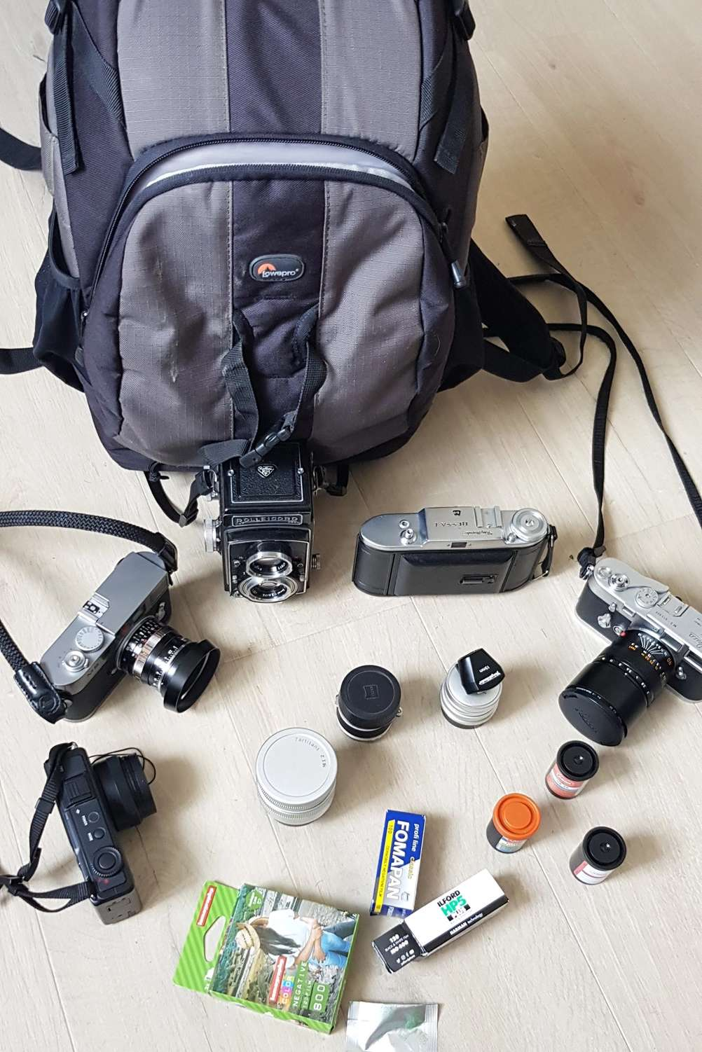 Photo of Lowepro Flipside 400AW bag with contents it needs to fit.