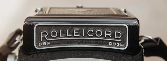 Photo of Rolleicord nameplate.