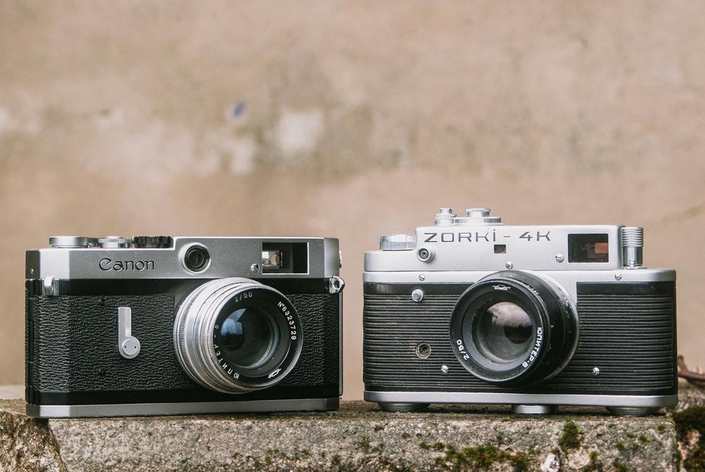 Photo of Jupiter-8 50mm f2 lenses on Canon P and Zorki 4K.
