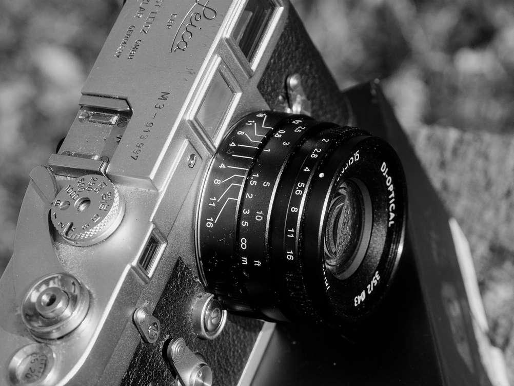 Closeup of a mechanical film camera.