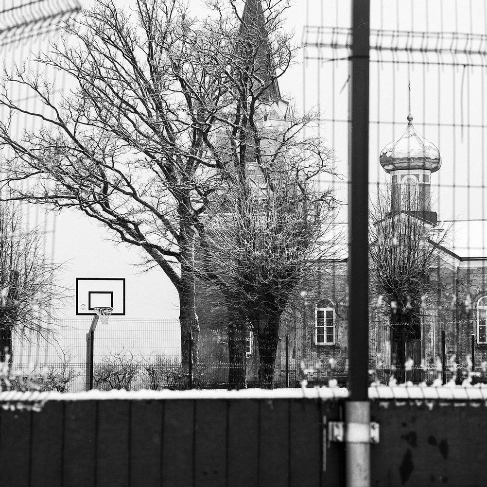Picture of basketball field taken with Mamiya C220.
