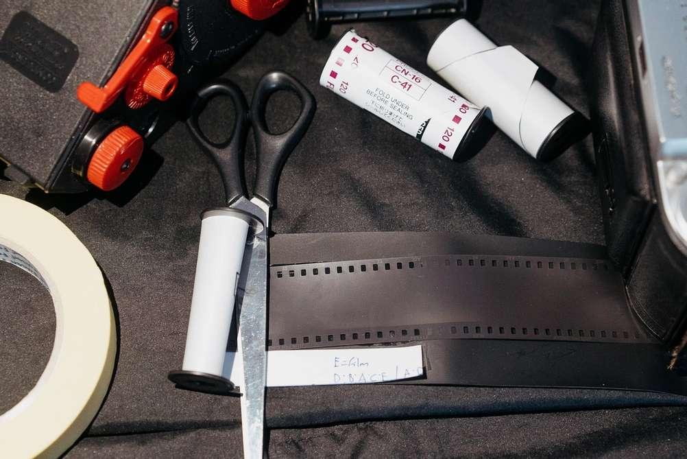 Taping 35mm film to 120 film backing paper.