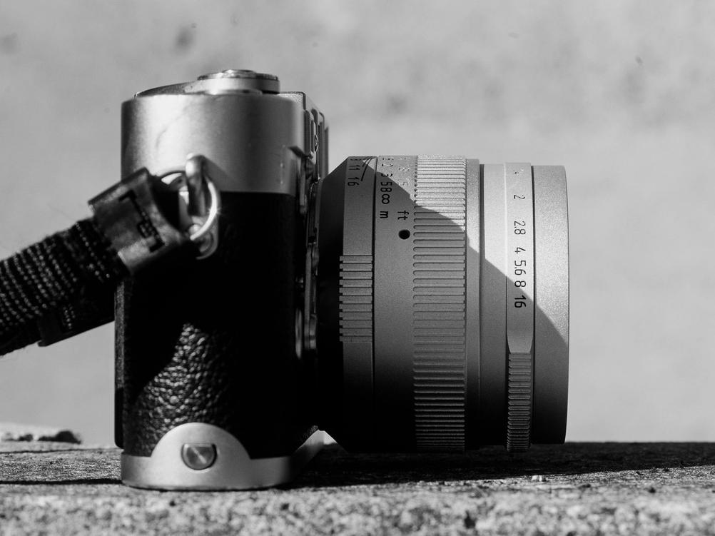 Photo of 7Artisans 50mm f1.1 lens on Leica M3.