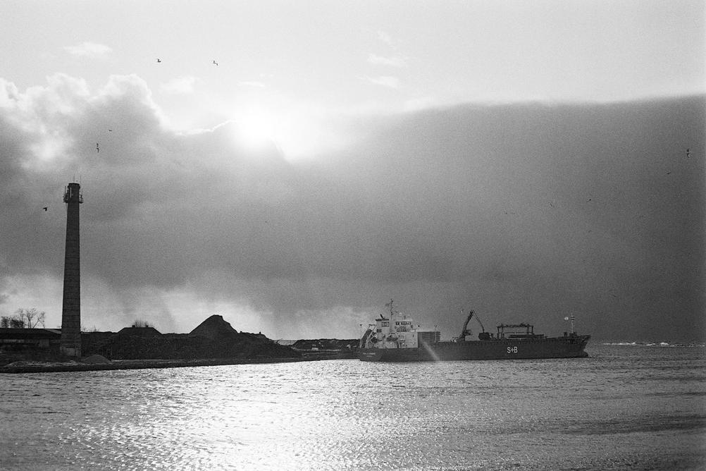 Photo of a ship in the distance.