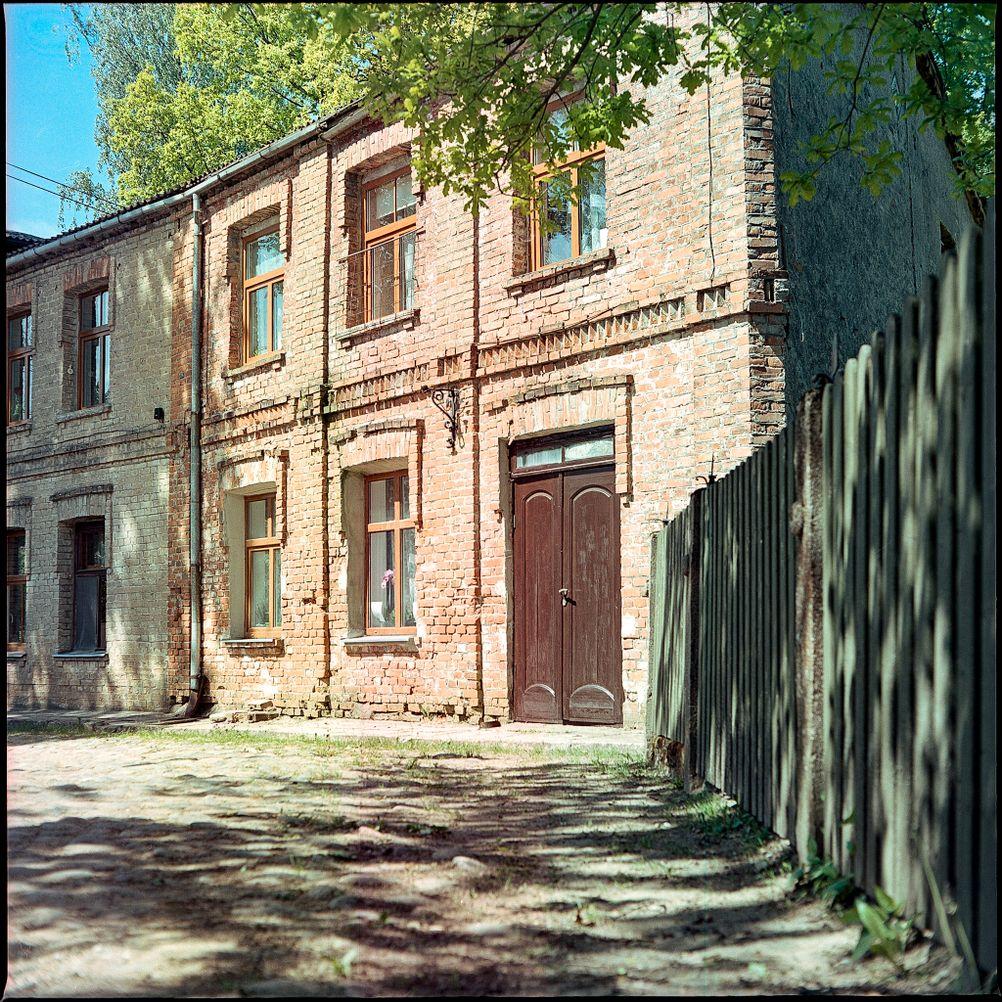 Photo of brick houses.