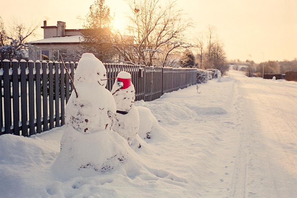 Picture of two snowmen in sunlight.
