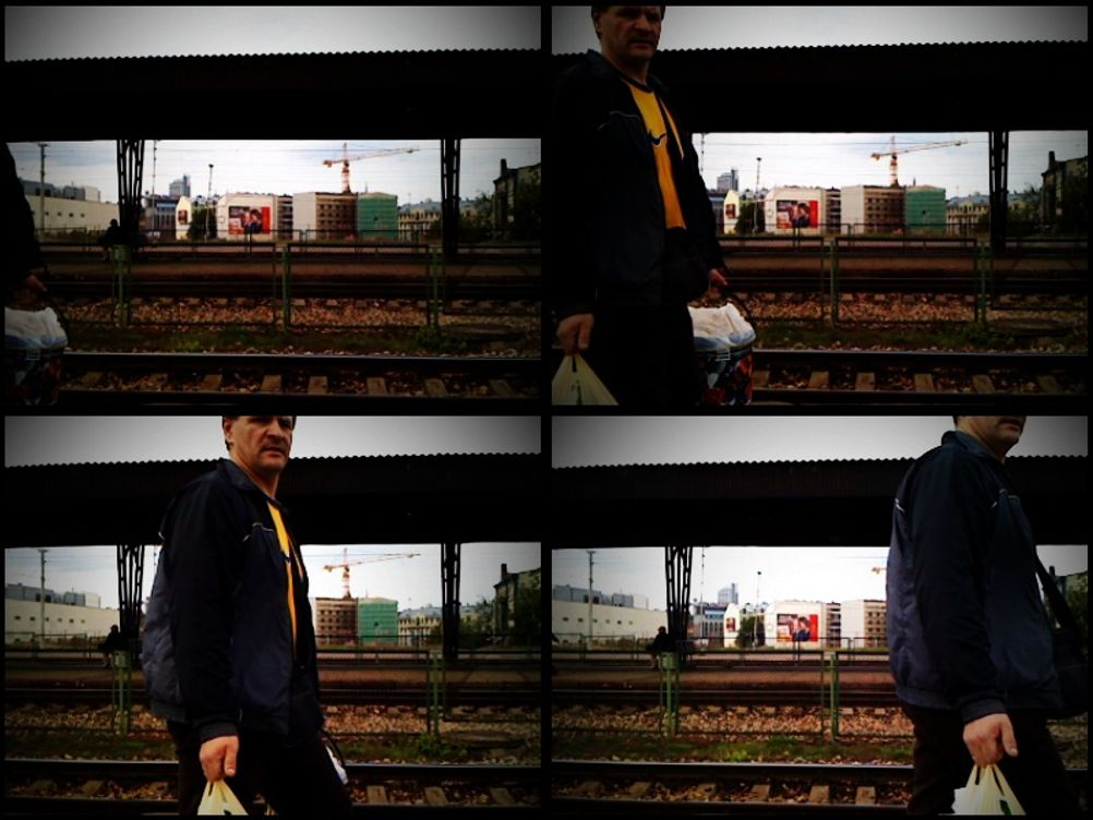 Four photos of a man walking by.