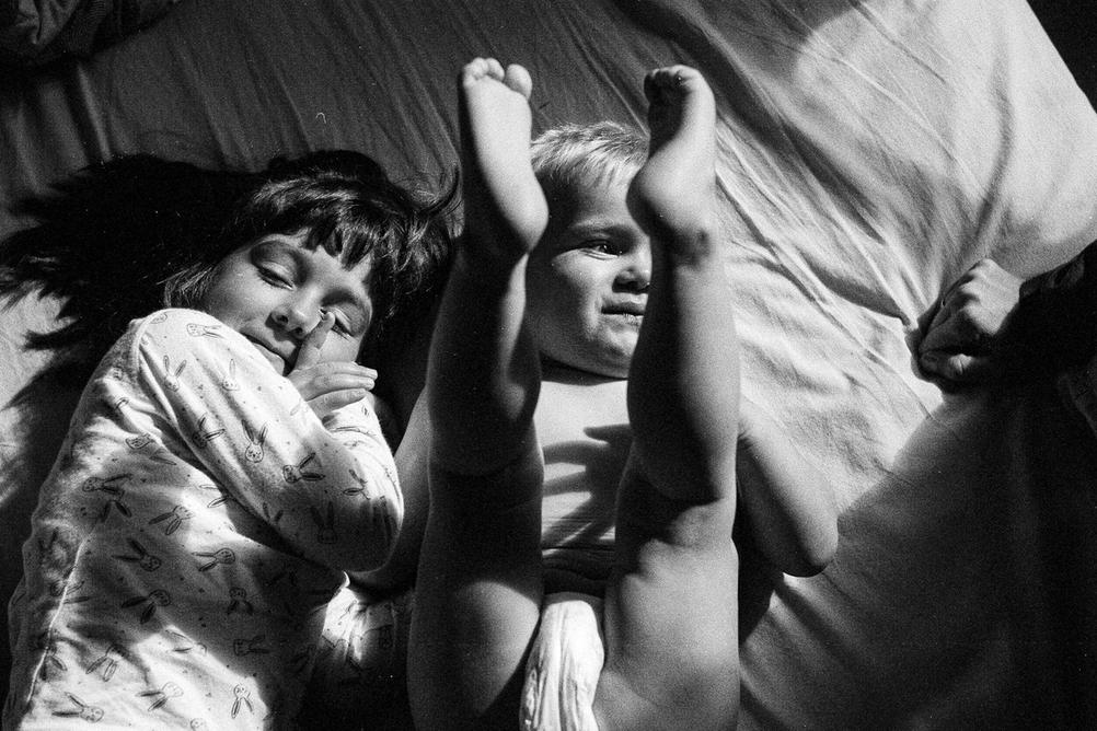 Photo of children in strong light.