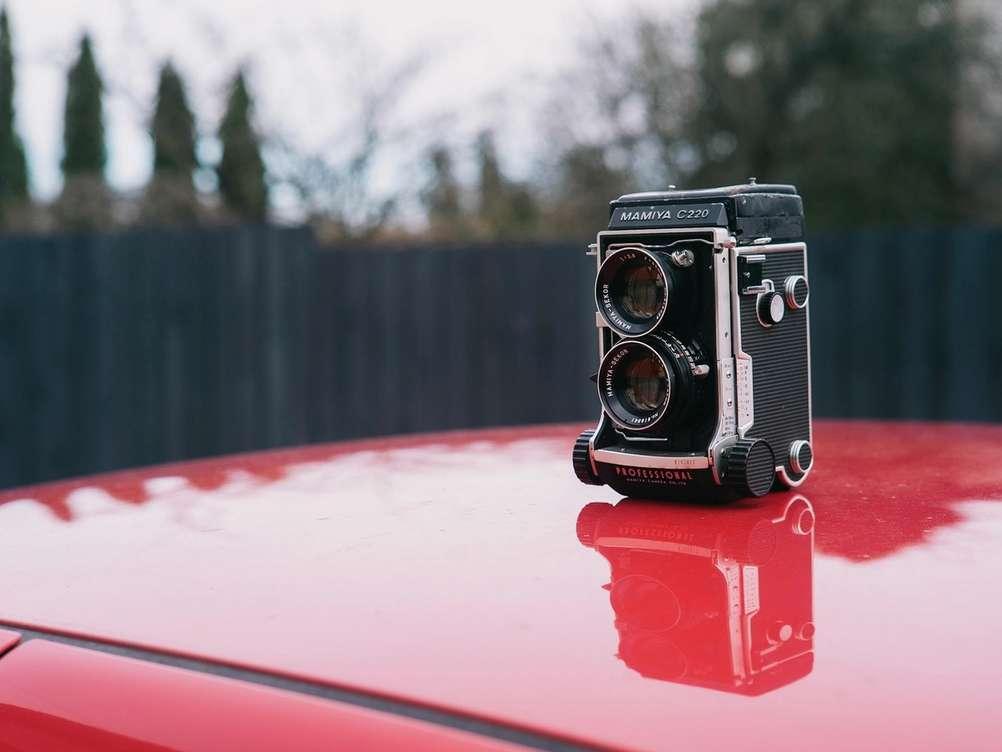 Photo of Mamiya C220 with Mamiya-Sekor 80mm f2.8 lens.