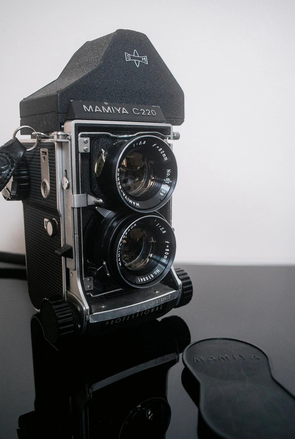 Mamiya C220, Sekor 80mm f2.8 lens and prism viewfinder.