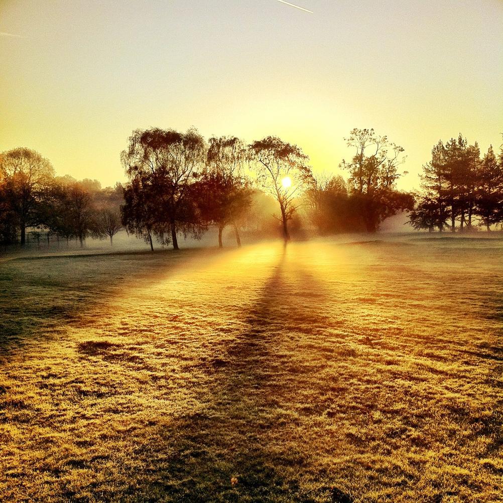Photo of a misty sunrise.