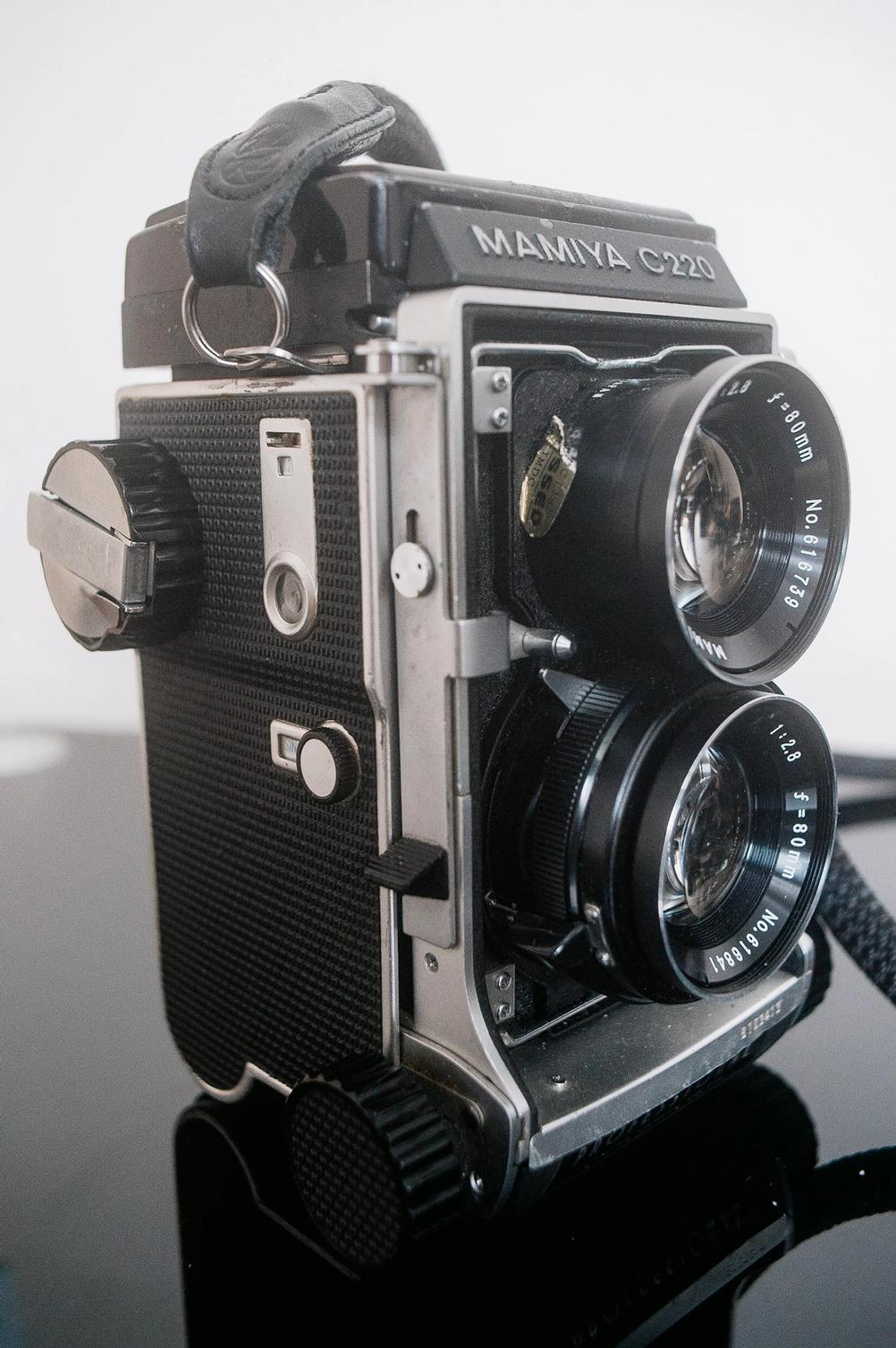 Mamiya C220 film advance knob and shutter release lever.