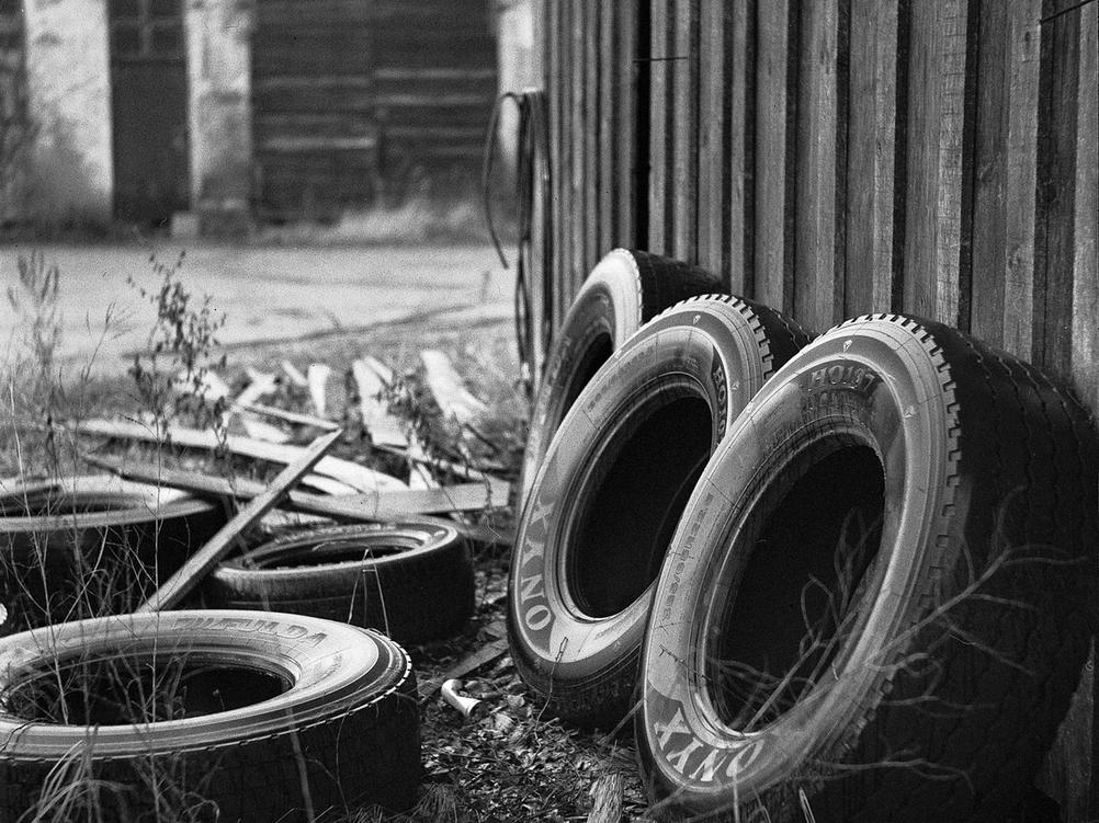 Old car tyres.