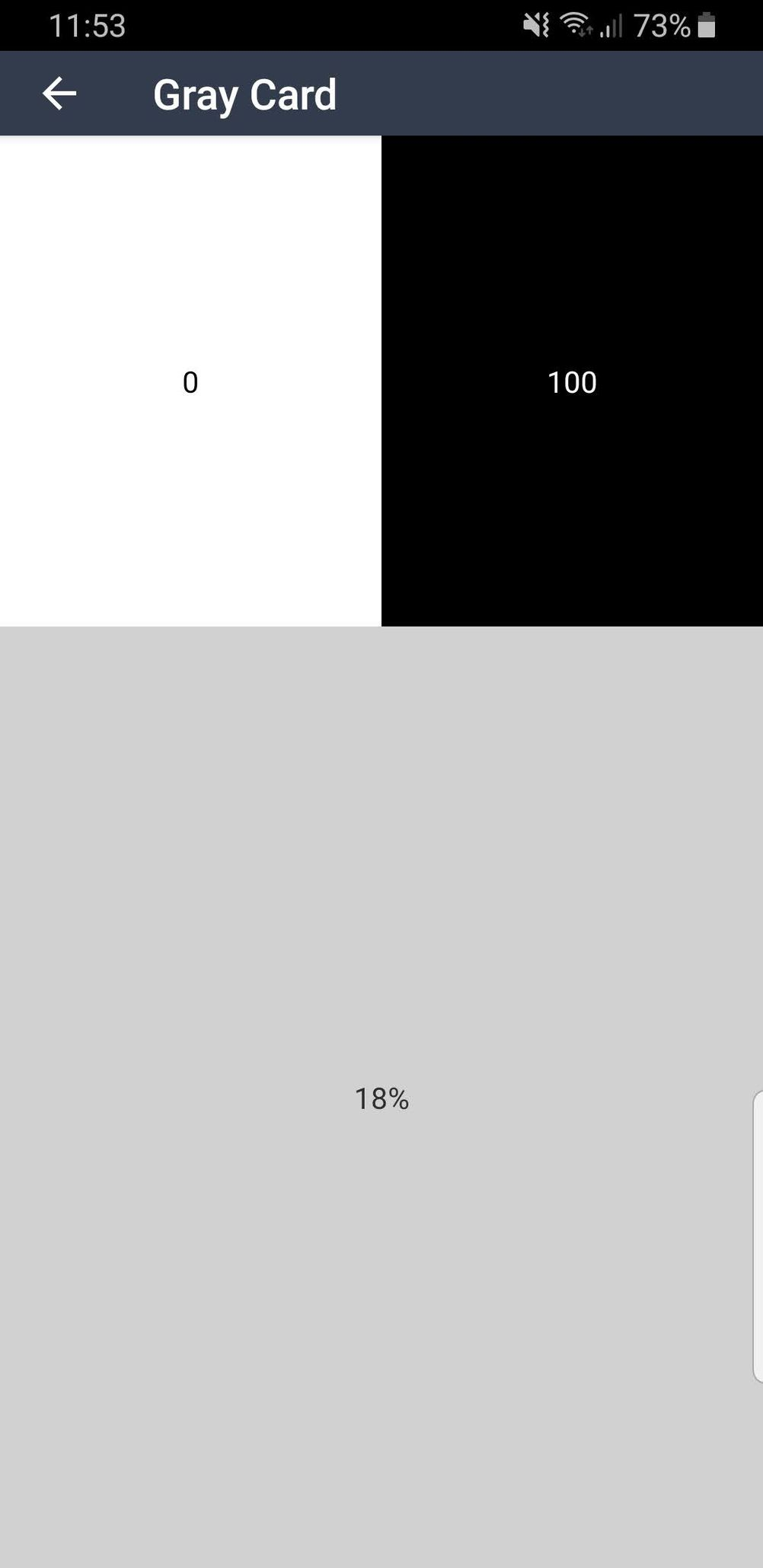 """Screenshot Gray Card on the """"Light Meter"""" Android app."""