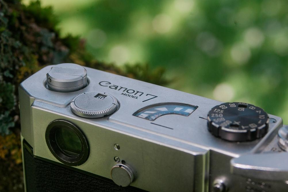 Photo of Canon Model 7 film rewind lever.