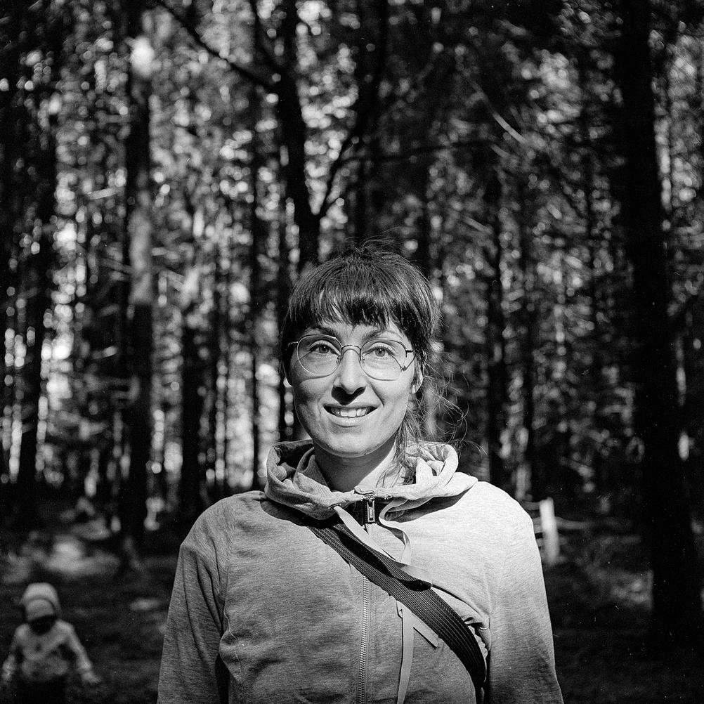 Photo of my wife in the woods.