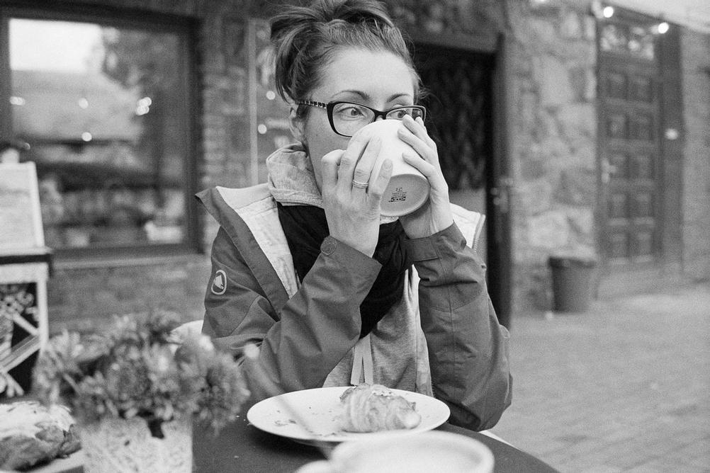 Photo of my wife drinking tea.