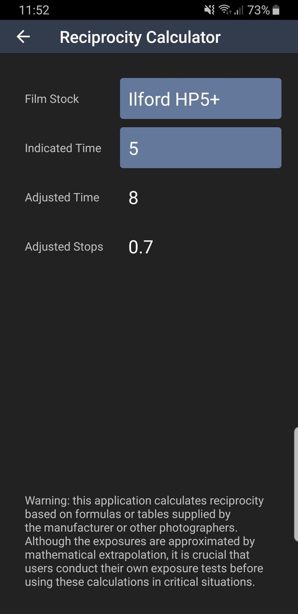 "Reciprocity calculator on ""Light Meter"" Android app."