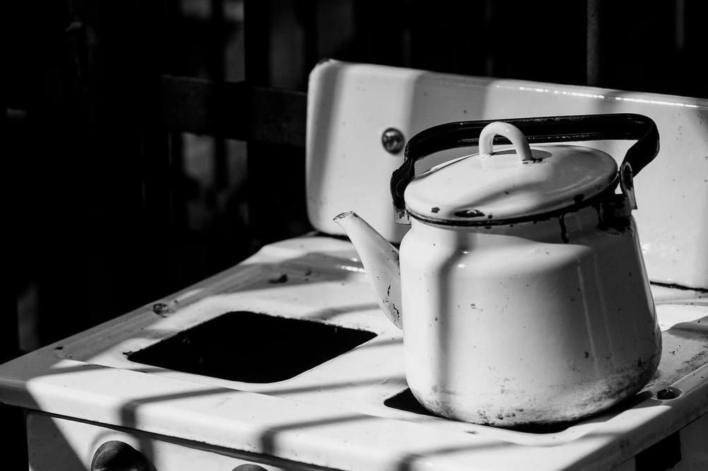 Still life photo of old kitchen equipment.