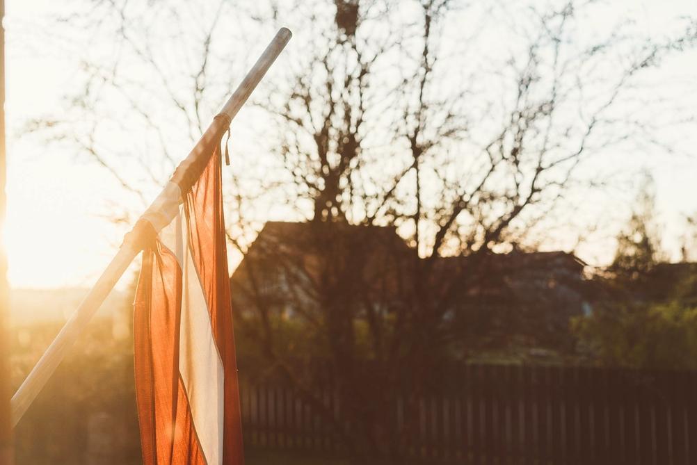 Photo of Latvian flag.