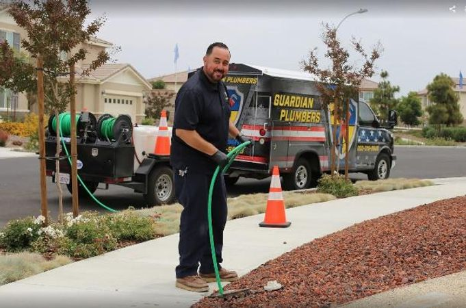 One of our plumbers performing a sewer line replacement for a client in Temecula, CA