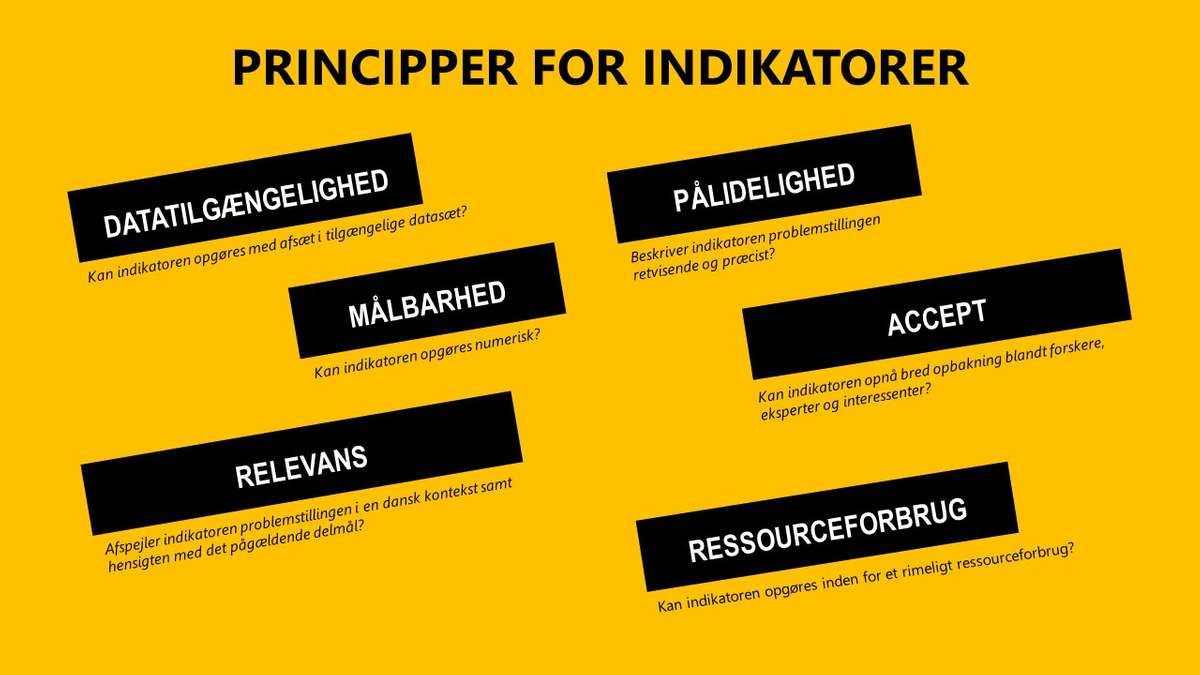 Principper for indikatorer