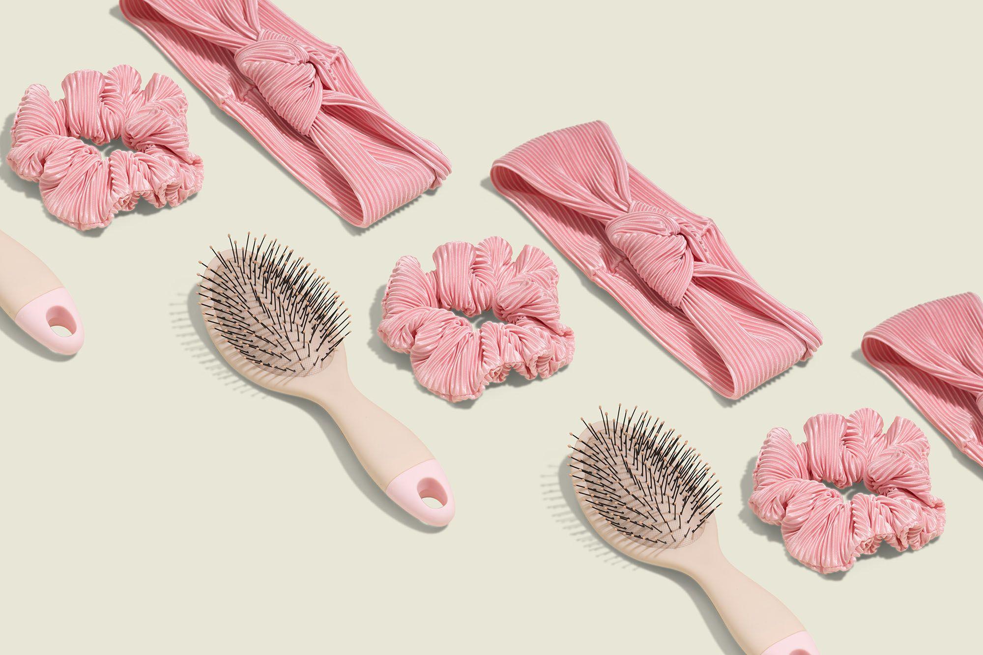 Hair brush with scrunchie and headband