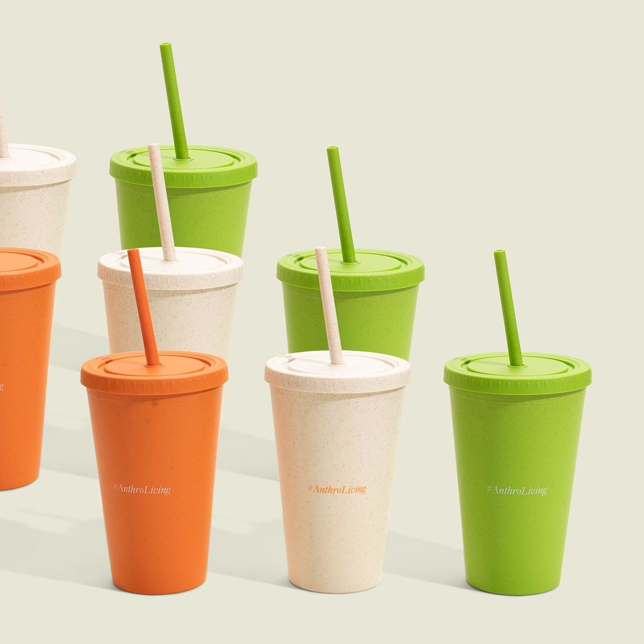 Colored acrylic cups with straws