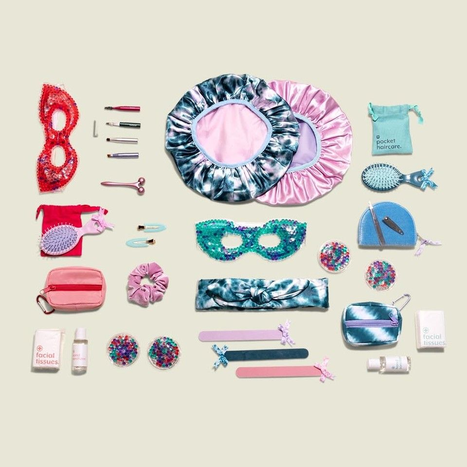 Collection of beauty products and hair accessories