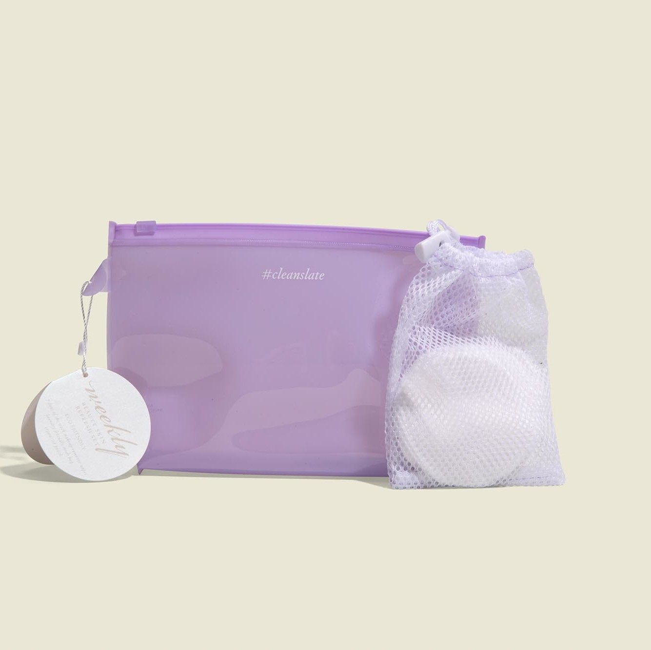 Standing zip pouch with drawstring pouch and makeup pads