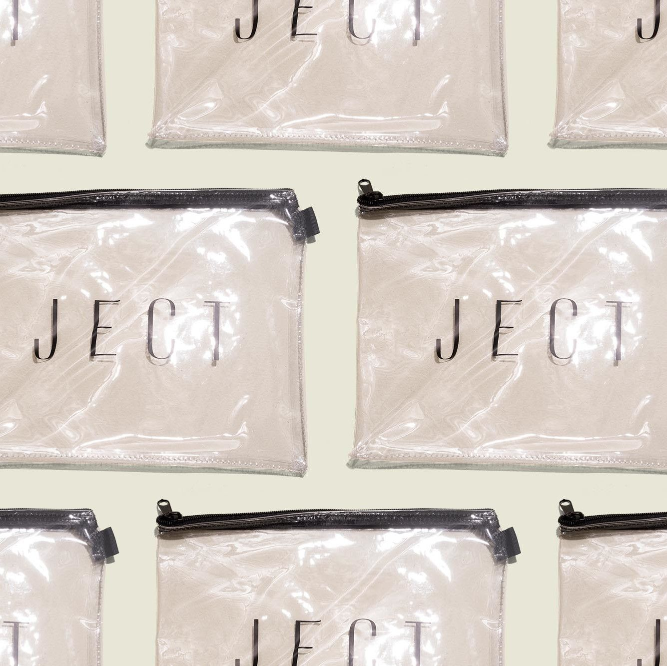 Set of clear zip pouches