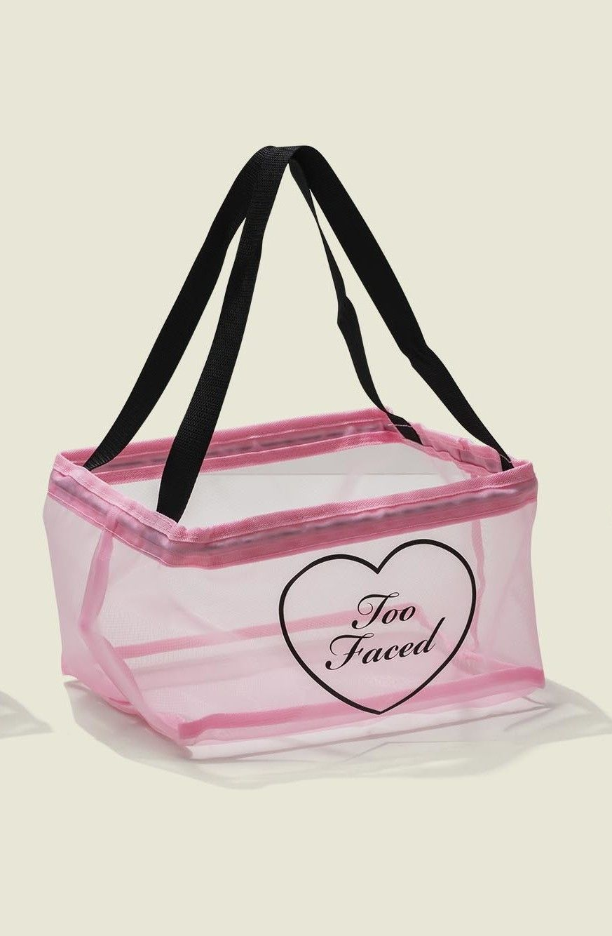 Pink lined tote bag