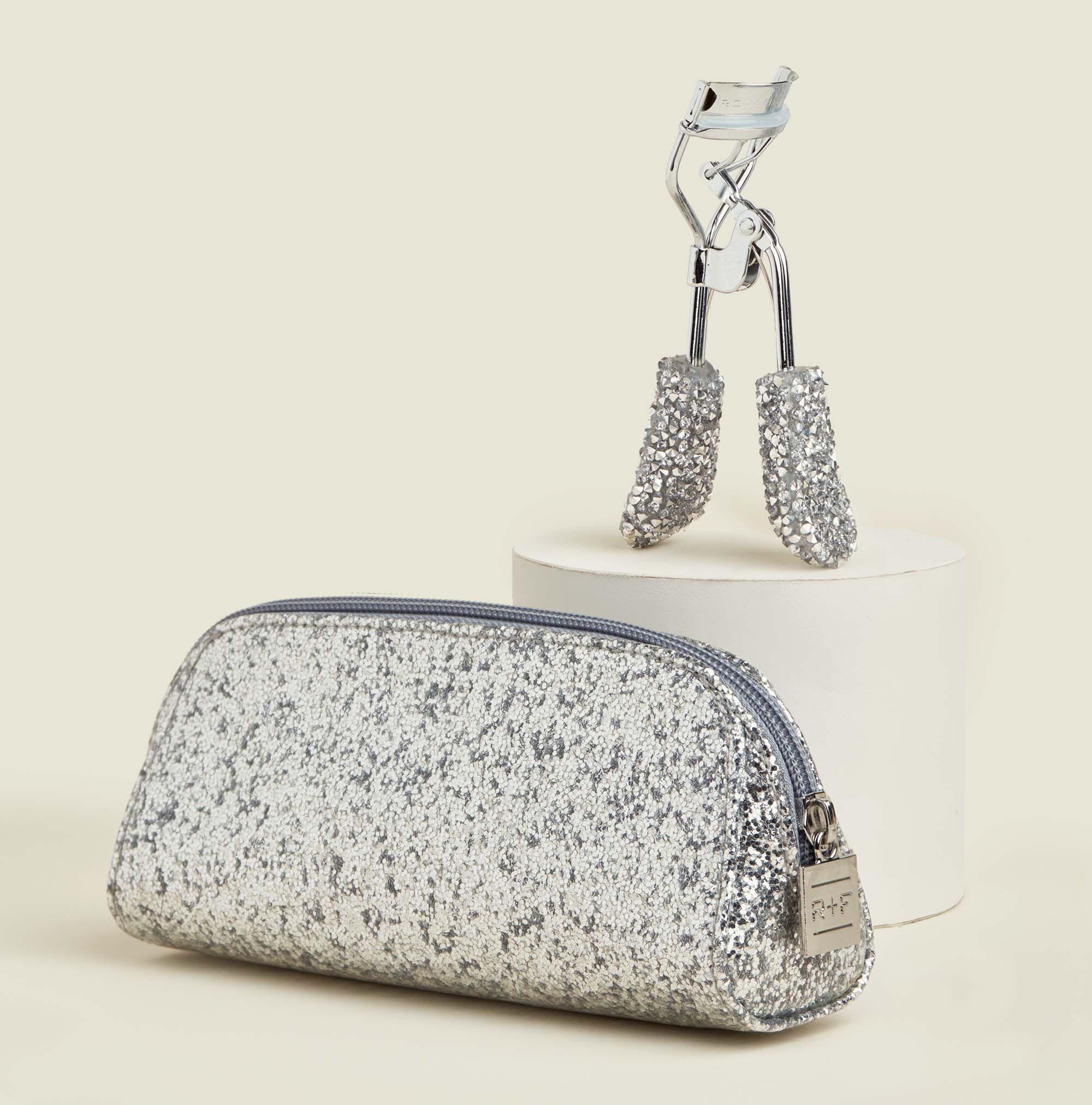 Glitter zip pouch with eyelash curler