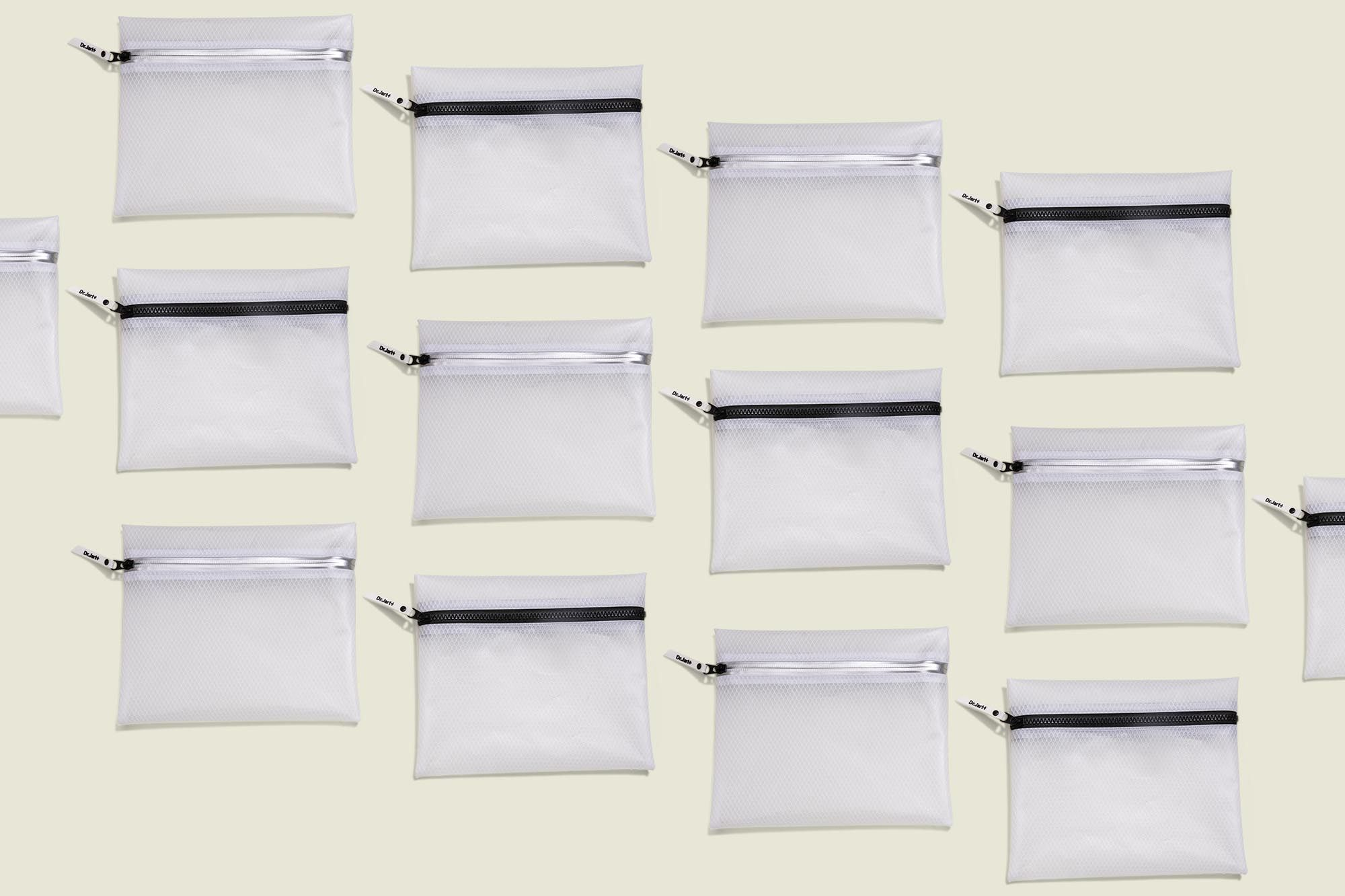 Collection of clear zip pouches