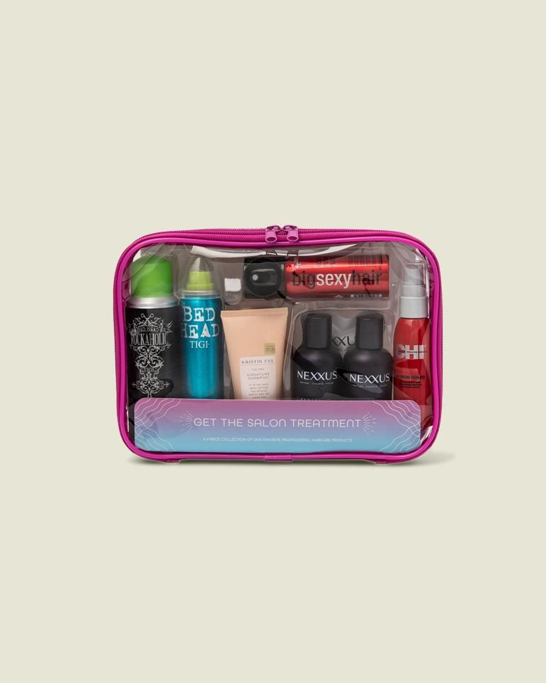 Standing zip pouch with beauty tools