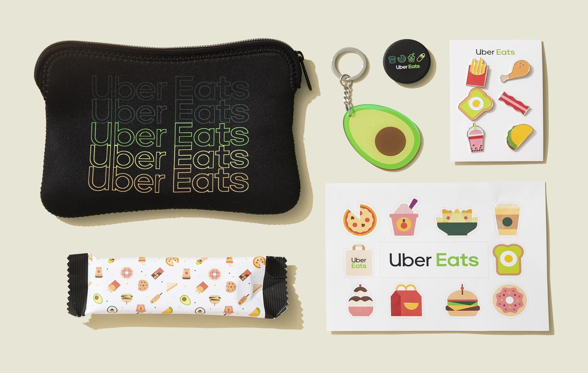 Flat zip pouch with stickers, keychain, pop socket and candy bar