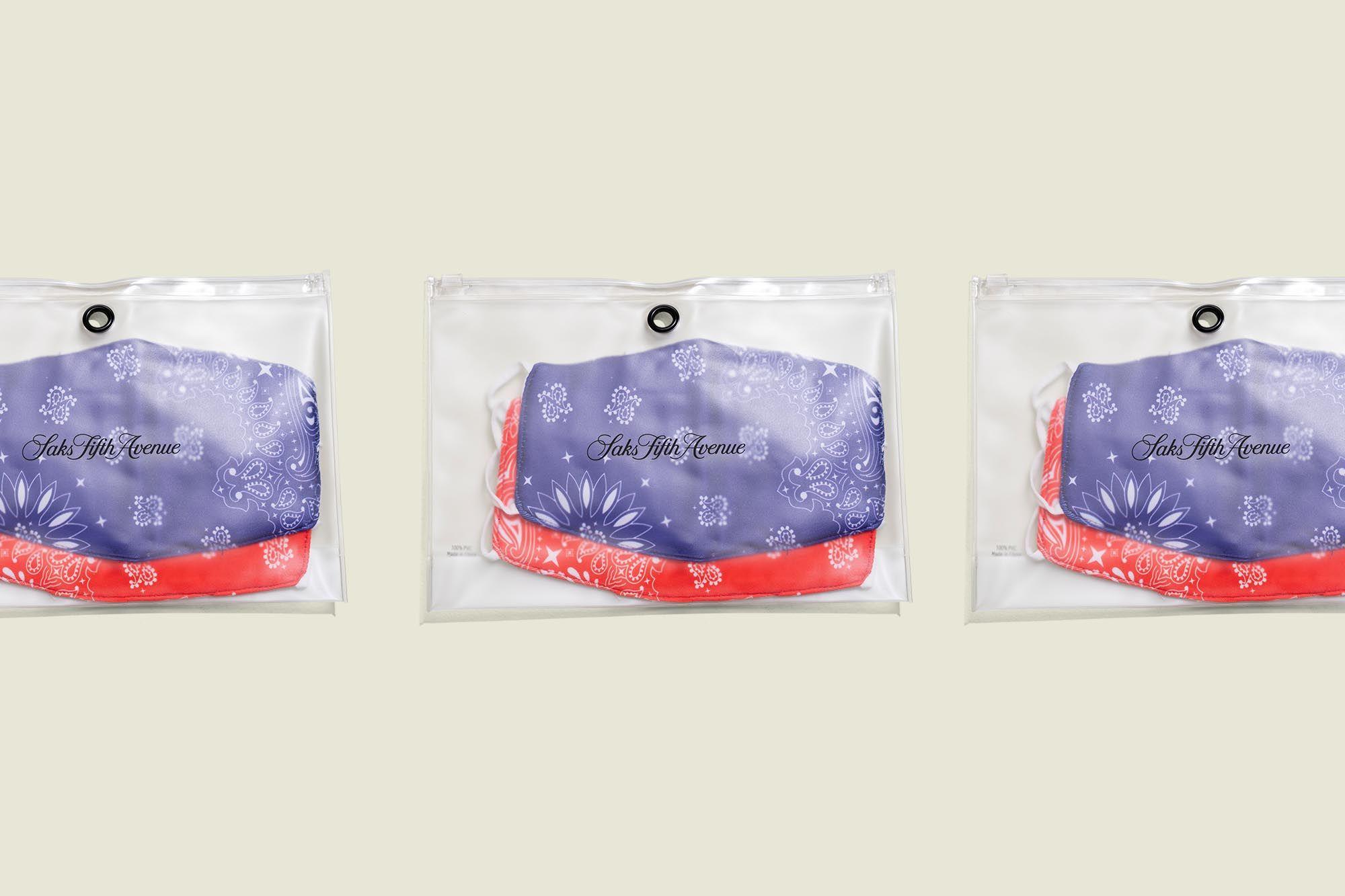 Face masks packaged in ziplock bags