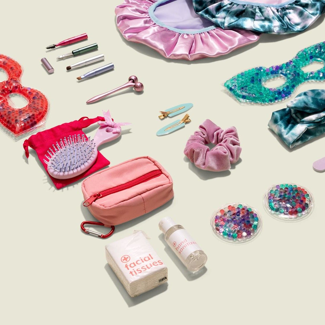 Collection of pouches, hair accessories and beauty products