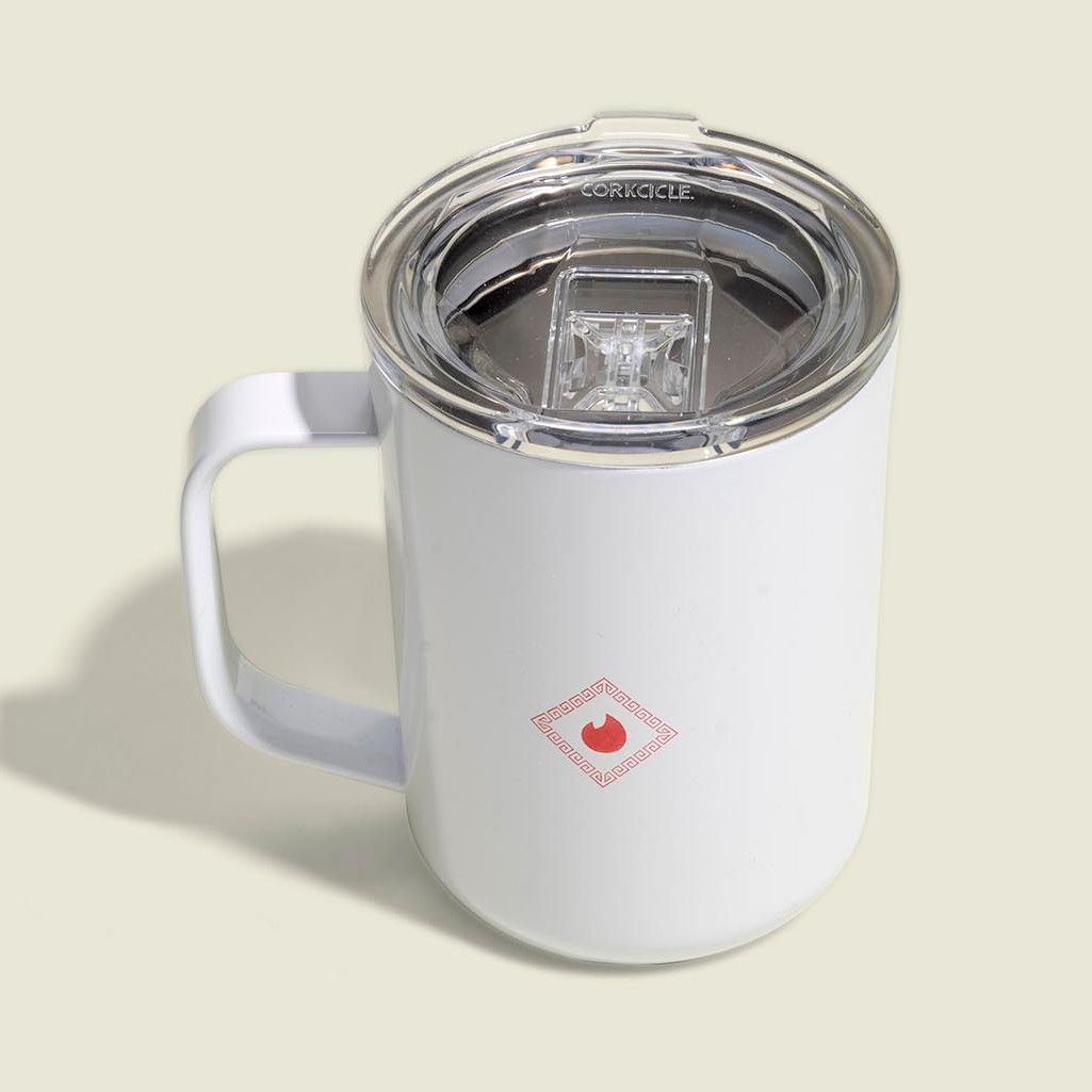 White handle cup
