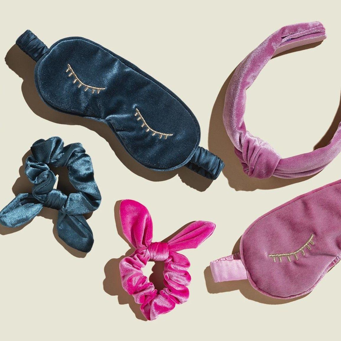 Velvet sleep masks with scrunchies and headband